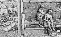 Woodcut of leprosy in medieval times